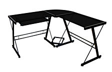 "51"" Contemporary Metal and Glass L-Shaped Corner Home Office Computer Desk with CPU Stand  - Black"