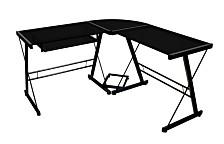 Home Office L-Shaped Corner Computer Desk - Black