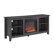 """58"""" Wood TV Stand Console with Fireplace - Charcoal"""
