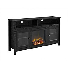 "58"" Wood Highboy Fireplace Media TV Stand Console - Black"