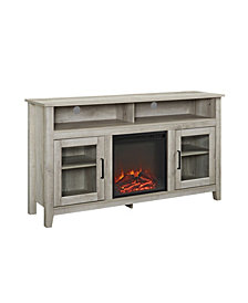 "58"" Transitional Wood Highboy TV Stand with Electric Fireplace Insert - White Oak"