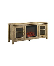 "58"" Wood Media TV Stand Console with Fireplace - Barnwood"
