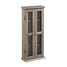 "41"" Wood Media Storage Tower Cabinet - Driftwood"