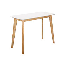 "42"" Retro Modern Wood Writing Desk - White/Natural"