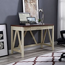 "46"" A-Frame Desk, White Oak Base/Traditional Brown Top"