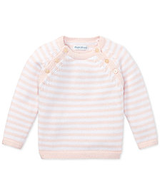Ralph Lauren Baby Girls Striped Cotton Sweater