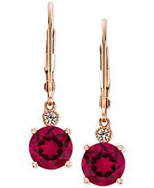 Lab-Created Ruby (2-7/8 ct. t.w.) & White Sapphire Accent Drop Earrings in 14k Rose Gold-Plated Sterling Silver