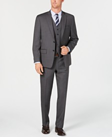 Michael Kors Men's Classic/Regular Fit Natural Stretch Gray Check Vested Wool Suit