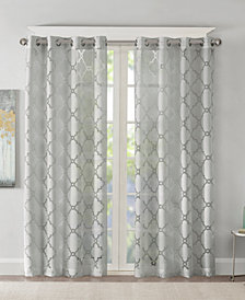 "Madison Park Eden 50"" x 84"" Fretwork Burnout Sheer Grommet Window Panel"