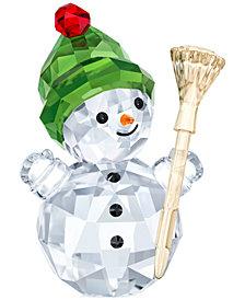 Swarovski Snowman with Broomstick Figurine