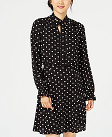 Be Bop Juniors' Polka-Dot Tie-Neck Dress