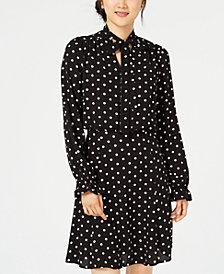 Be Bop Juniors' Polka-Dot Tie-Neck Dress