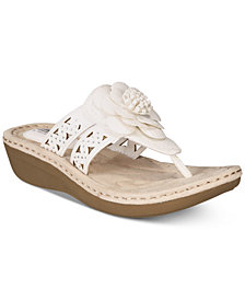 White Mountain Cynthia Thong Wedge Sandals