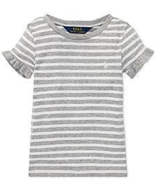 Polo Ralph Lauren Little Girls Striped Ruffled T-Shirt