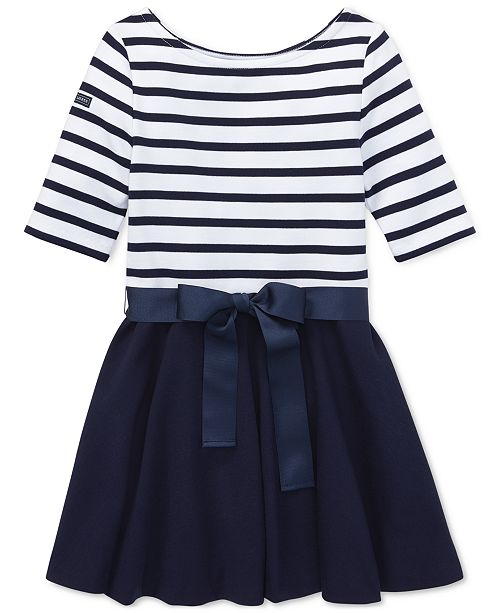 Dress Knit Striped Jersey Ponté Little Girls trdChsQ