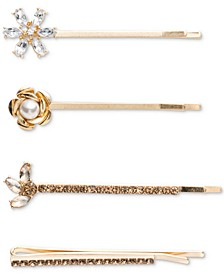 Gold-Tone 4-Pc. Set Crystal & Imitation Pearl Bobby Pins