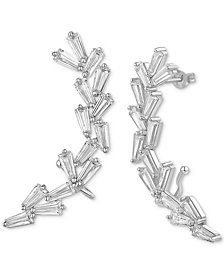 Cubic Zirconia Baguette Ear Climbers in Sterling Silver