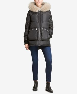 DKNY Faux-Fur-Trim Hooded Puffer Coat in Black