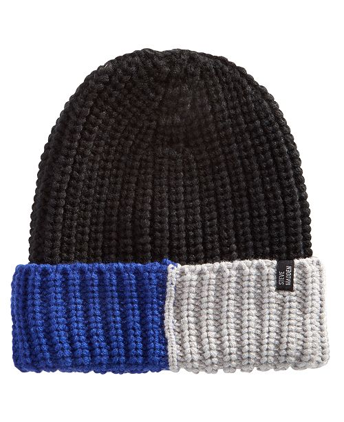 67986832f12 Steve Madden Men s Colorblocked Ribbed Beanie - Hats