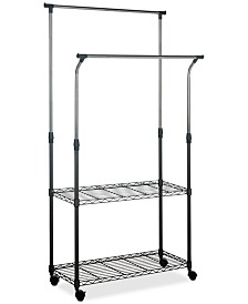 Giorgio Chrome Wire Double Rod Clothes Rack, Quick Ship