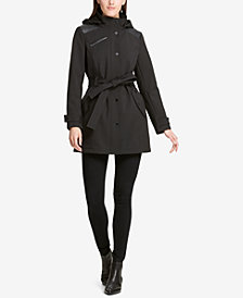 DKNY Faux-Leather-Trim Hooded Raincoat, Created for Macy's