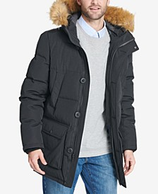 Men's Big & Tall Long Parka Jacket with Faux Fur Hood