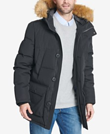 Tommy Hilfiger Men's Long Parka Jacket with Faux Fur Hood