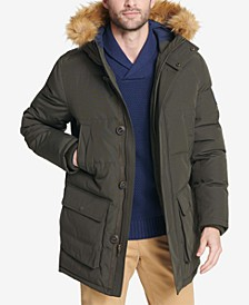 Men's Long Parka Jacket with Faux Fur Hood