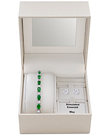 Simulated Emerald Slider Bracelet & Cubic Zirconia Stud Earrings Set In Fine Silver-Plate, May Birthstone