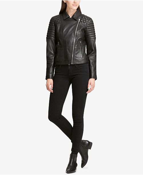 5a9058ba67 DKNY Quilted-Shoulder Leather Moto Jacket   Reviews - Coats - Women ...