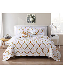 VCNY Home Ogee 4-Pc. Full/Queen Metallic Quilt Set