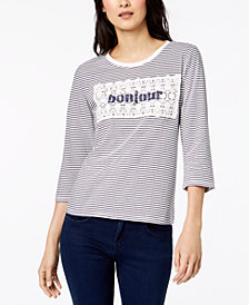 Maison Jules Cotton Striped Crochet-Overlay Bonjour Top, Created for Macy's