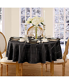 "Elrene Elegance Plaid Black 90"" Round  Tablecloth"