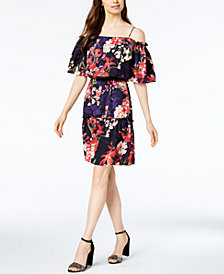 Connected Floral Printed Tiered Off-the-Shoulder Dress