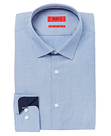 HUGO Men's Slim-Fit Micro Pattern with Trim Details Dress Shirt