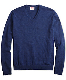 Brooks Brothers Men's Red Fleece Merino Wool V-Neck Sweater