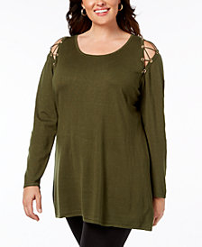Belldini Plus Size Lace-Up Cold-Shoulder Tunic