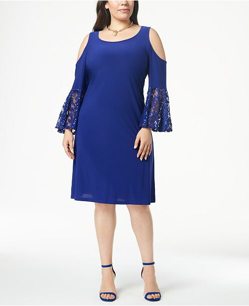 R & M Richards Plus Size Cold-Shoulder Dress