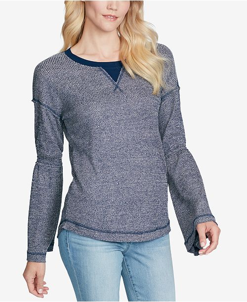 4450bd96b30599 Jessica Simpson Ionna Bell-Sleeve Thermal Top - Tops - Juniors - Macy s