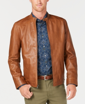 60s 70s Men's Jackets & Sweaters Tasso Elba Mens Pietro Leather Jacket Created for Macys $208.99 AT vintagedancer.com
