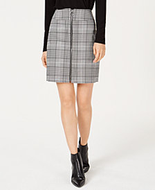 I.N.C. Petite Plaid Zip-Front Mini Skirt, Created for Macy's