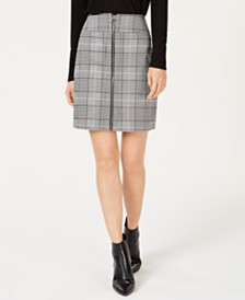 I.N.C. Plaid Zip-Front Skirt, Created for Macy's