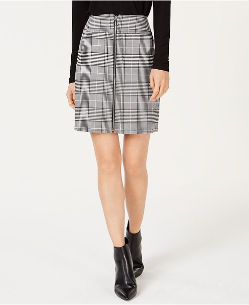 INC International Concepts INC Plaid Zip-Front Skirt, Created for Macy's