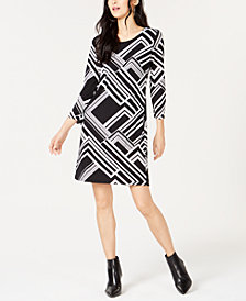 I.N.C. Petite Printed 3/4-Sleeve Shift Dress, Created for Macy's