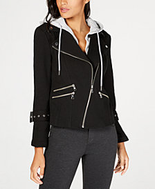 I.N.C. Hooded Moto Jacket, Created for Macy's
