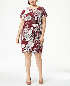 Robbie Bee Plus Size Printed Faux-Wrap Dress