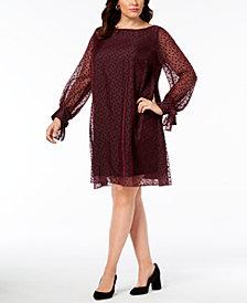 Taylor Plus Size Polka-Dot Shift Dress