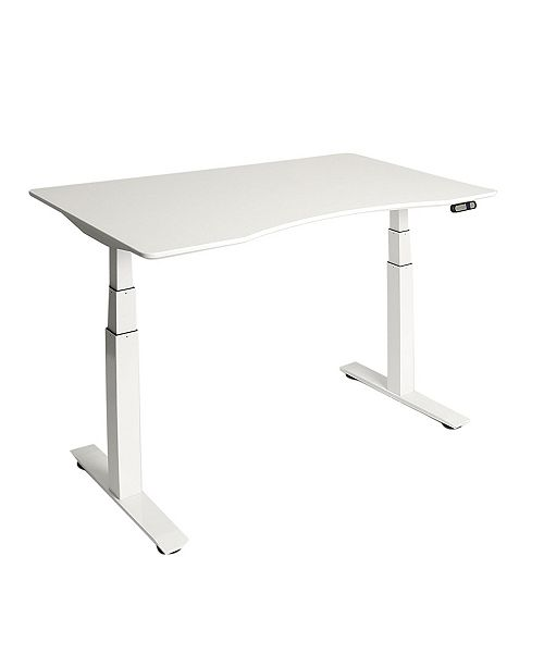 Seville Classics Airlift 3 Electric Standing Desk White Steel Frame With White Top