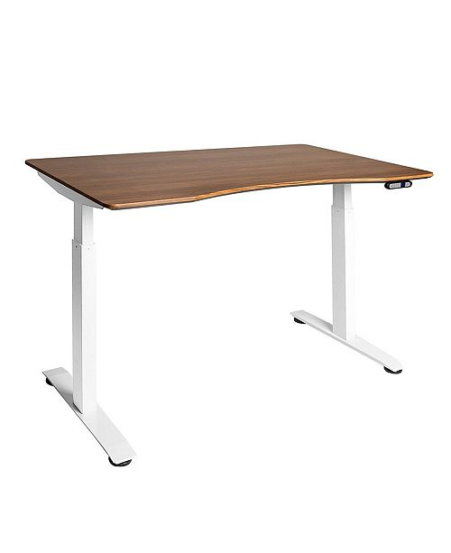 Seville Classics Airlift 2 Electric Standing Desk White Steel Frame With Walnut Top