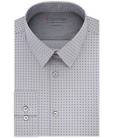 X Men's Extra-Slim Fit Temperature Regulating Stretch Gray Print Dress Shirt